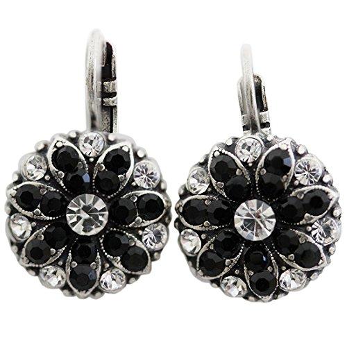 Mariana Silvertone Flower Blossom Crystal Earrings, Black Clear 1029 280-1 (Mariana Crystal)