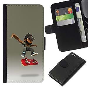 KLONGSHOP // Tirón de la caja Cartera de cuero con ranuras para tarjetas - patinador barba cgi monopatín adolescente - Apple Iphone 5C //