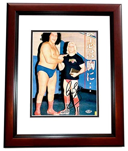 Ric Flair Signed - Autographed Wrestling 8x10 inch Photo Pictured with Andre the Giant MAHOGANY CUSTOM FRAME - Guaranteed to pass PSA or - Giant Photos Andre The
