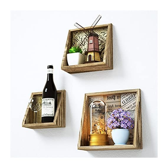 Love-KANKEI Floating Shelves Wall Mount - Rustic Wood Wall Shelf with Old Newspaper Style Paper Board Set of 3 - WALL DECOR RUSTIC SHELVES - Made of solid wood and process with torched finish, a rustic shelves to dispaly your collectibles, small plants, stuffed animals, a great decorative addition in any wall. FUNCTIONAL WALL SHELF - Great space saving wall shelf, useful for displaying or holding collectibles, toys, trophys, small plants, pictures, books and more in bedroom, living room, kids room, stores, kitchen and more BEVELLED DESIGN and Old NEWSPAPER STYLE - Different from most traditional square shelves, this farmhouse shelf designed with bevel appearance and 3 paper board in old newspaper style, unique and decorative. - wall-shelves, living-room-furniture, living-room - 51ak8o5rbwL. SS570  -