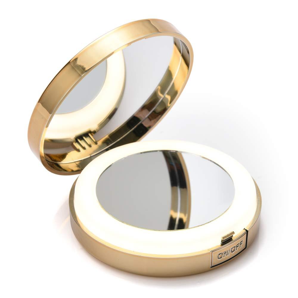 LONGKO Miroir de Poche LED Lumineux USB Rechargeable Grossissant 10X - Double Face HD -3 Modes d'Eclairage(lumière Froide/Chaude/Mixte)-Miroir de Maquillage à Main pour Voyage (Carré)
