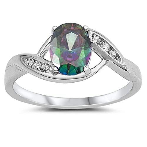 CloseoutWarehouse Oval Rainbow Simulated Topaz Cubic Zirconia Ring Sterling Silver