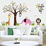 Amaonm Cute Cartoon Colorful Forest Animals Wall Decals Elephant Monkey Lion Giraffe Owls Wall Sticker Murals Peel Stick Removable Wall art Decor For Kids Room Playroom Bedroom