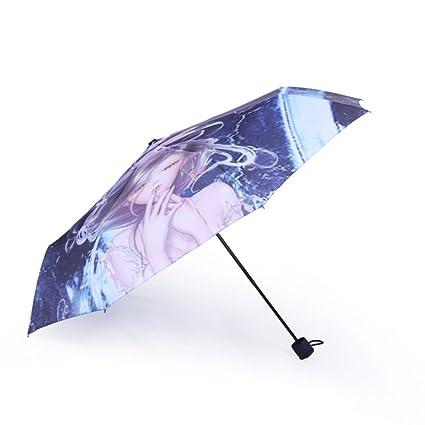 AFCITY Mujer Hombre Paraguas Viaje Sombrilla para el Sol Impresa al Aire Libre del Paraguas del