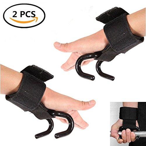 Solvang 2pcs Weight Lifting Hooks Grip Wrist Wraps Power Weight Lifting Training Gym Exercises Assist During Deadlifts, Rows, Pulldowns, and Shrugs by Solvang