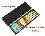 Hillento Comic Dip Pen Set, 4 Wooden Pen Handler Artist Cartoon Pen Set Calligraphy Dip Pens With 8 Nibs -...