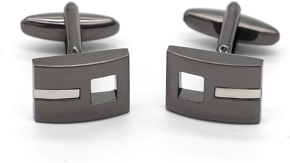 Rhungift Belt buckle shape Cufflinks Shirt Wedding Business in a Presentation Gift Box Black Nickle