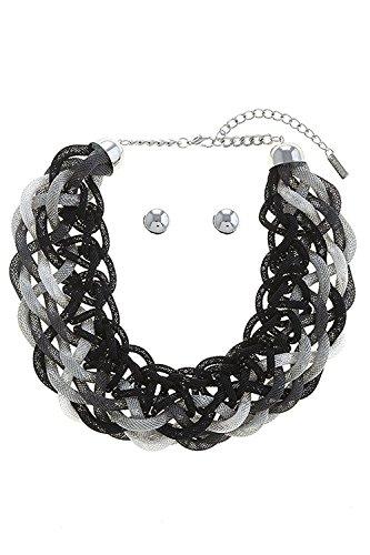 Woven Mesh Chain (BAUBLES & CO MESH CHAIN WOVEN BIB NECKLACE SET (Black/Silver))