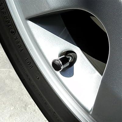 Chevrolet Chrome & Black Valve Stem Caps w/Gold Bowtie Logo - Set of 4: Automotive