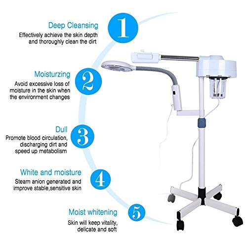 2in1 Facial Steamer, 5X Magnifying LED Floor Lamp Multifunction Spa Professional Humidifier Beauty Facial Clean Skin Care Tool by ZJchao (Image #1)