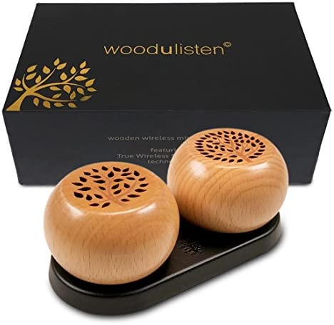 woodulisten Wooden Wireless Mini Bluetooth Speakers – Beautiful Natural Sound – Use 1 Pair 2 True Wireless Stereo TWS Technology, Set of 2 pairable Speakers 1 Tree 1 Branch Design