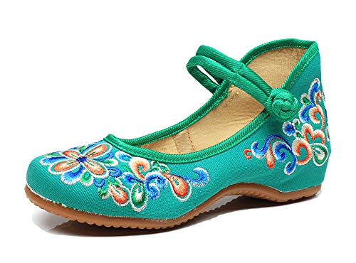 AvaCostume Women's Chinese Embroidery Casual Mary Jane Travel Walking Shoes Green 41