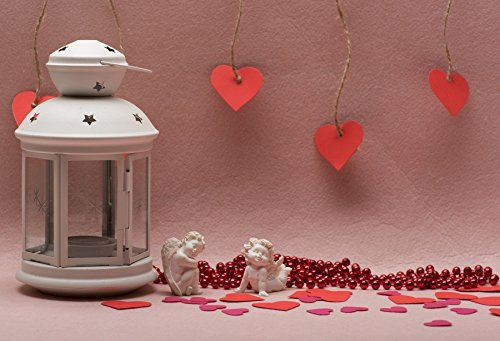 Baocicco 5x4ft Romantic Gentle Pink Wedding Photography Backdrops White Lantern Red Heart Piles Beads Angel Plaster Statue Love Background Birthday Bride Girl Valentine -