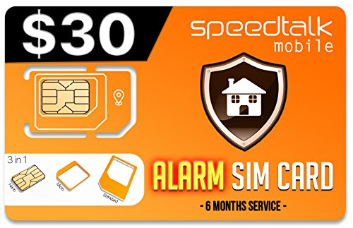 $30 Prepaid GSM Alarm SIM Card | Home Security Business Security Alarm System| No Contract- 6 Months Wireless Service (2g 3g 4g LTE)