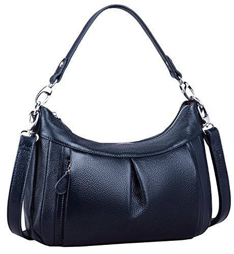 Heshe® New Casual Fashion Women's Ruffled Soft Tote Top Handle Handbag Shoulder Bag Cross Body Cute Satchel (Navy (Blue Leather Handbags)