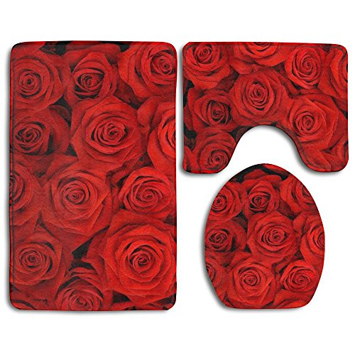 ZWHUING Red Rose Flowers 3 Piece Bathroom Set,Toilet Set Mat Rug Non-Slip Contour Rug Toilet Lid Cover And Bath Mat