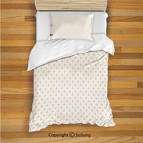 SoSung Modern Kids Duvet Cover Set Twin Size, Diamond Like Small Stars Pattern for Home Office Contemporary Artprint Decorative 2 Piece Bedding Set with 1 Pillow Sham,Apricot Yellow and White