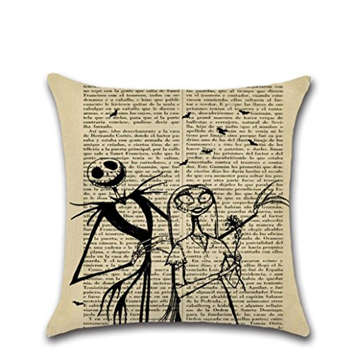 Muranba Happy Halloween Pillow Cases Linen Sofa Cushion Cover Home Decor (B)