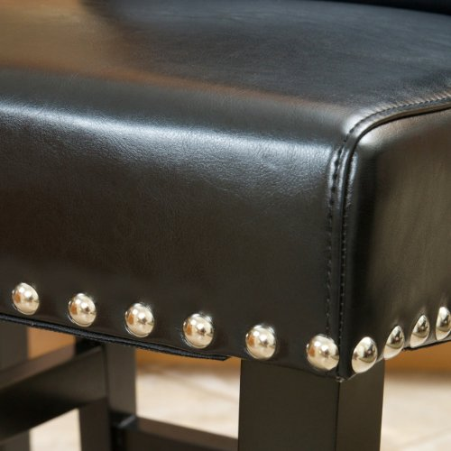 Christopher Knight Home 238540 Lisette Leather Counter Stool (Set of 2) Black by Christopher Knight Home (Image #3)