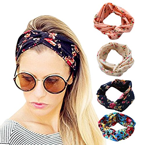 DRESHOW 1950's Vintage Flower Headbands for Women Twist Elastic Turban Headband Head Wraps Cute Hair Band Accessories (Beach Clothing For Women compare prices)