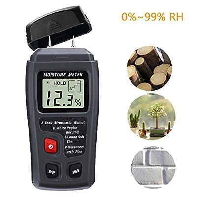 Digital Moisture Meter, Liumy ± 0.5% Accuracy Wood Detector Moisture Meter / 2 Pins / 4 Types of Wood Species / LCD Display Moisture Sensor Detector (ABS plastic)