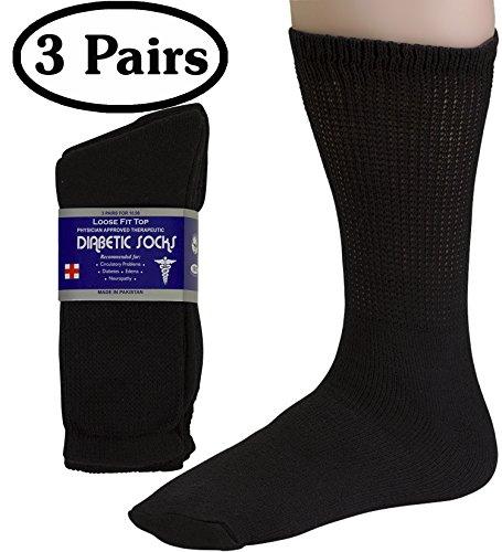 (Diabetic Socks Mens Cotton 3-Pack Crew Black By DEBRA WEITZNER )