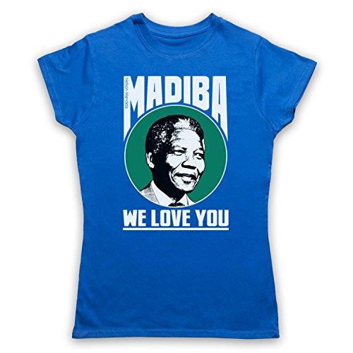 Nelson Mandela Madiba We Love You Camiseta para Mujer Azul Real