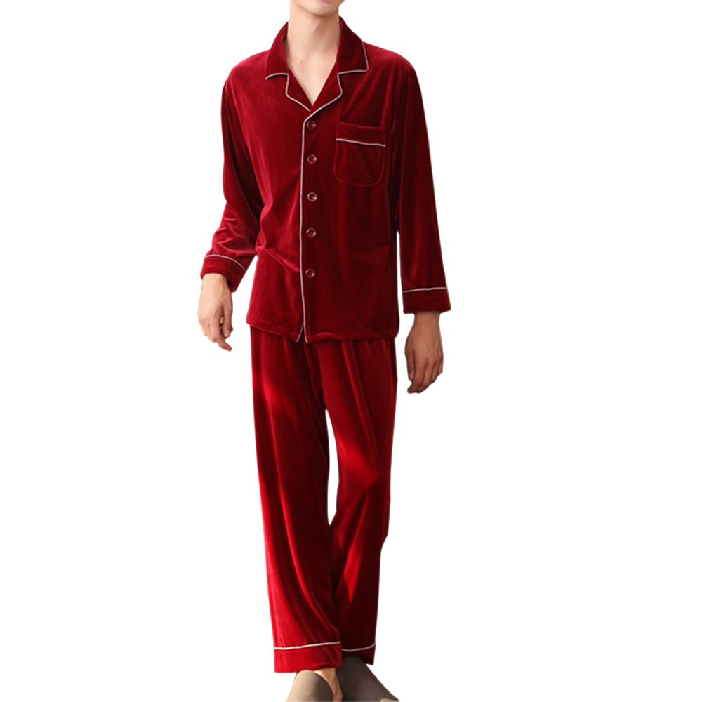 Amzchoice Men's Luxury Pleuche Warm Robes Nightwear Sleepwear Loungewear Bathrobes Pajama Set Robe and Pant (US-M=TagSize-L, Red) by Amzchoice