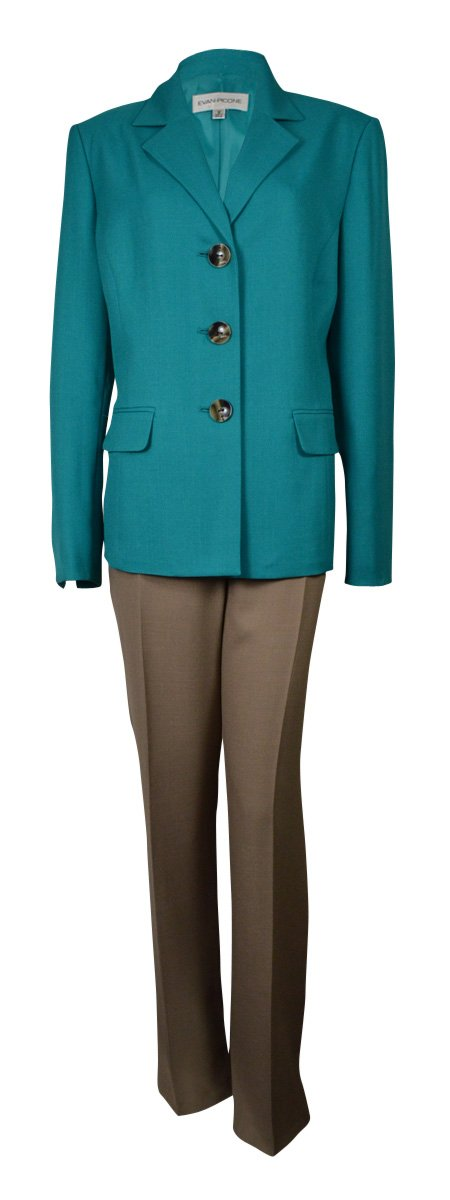Evan Picone Sand Two Piece Career Women's Pant Suit Green 14