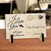 Personalized I Love You Always And Forever Wood Postcard with Low Profile Wood Stands