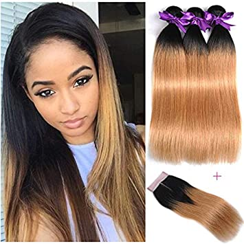 35592cb0291839 Amazon.com   1B 27 Ombre Human Hair Extensions With Closure Honey Blonde  Straight Virgin Human Hair Weave Bundles With Closure (10 12 14+10 closure