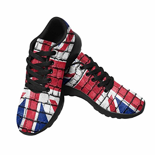 InterestPrint Womens Trail Running Shoes Jogging Lightweight Sports Walking Athletic Sneakers Brick Wall With Painted Flag Of Great Britain Multi 1 P2B3Ofsr9