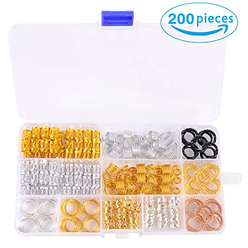 (Hair Cuffs Metal Hair Braiding Beads with Crystal Aluminum Dreadlocks Accessories Spring Hair Jewelry Hair Decoration Hoops Hair Rings for Braids (200 Pcs Multiple Styles) by Messen)