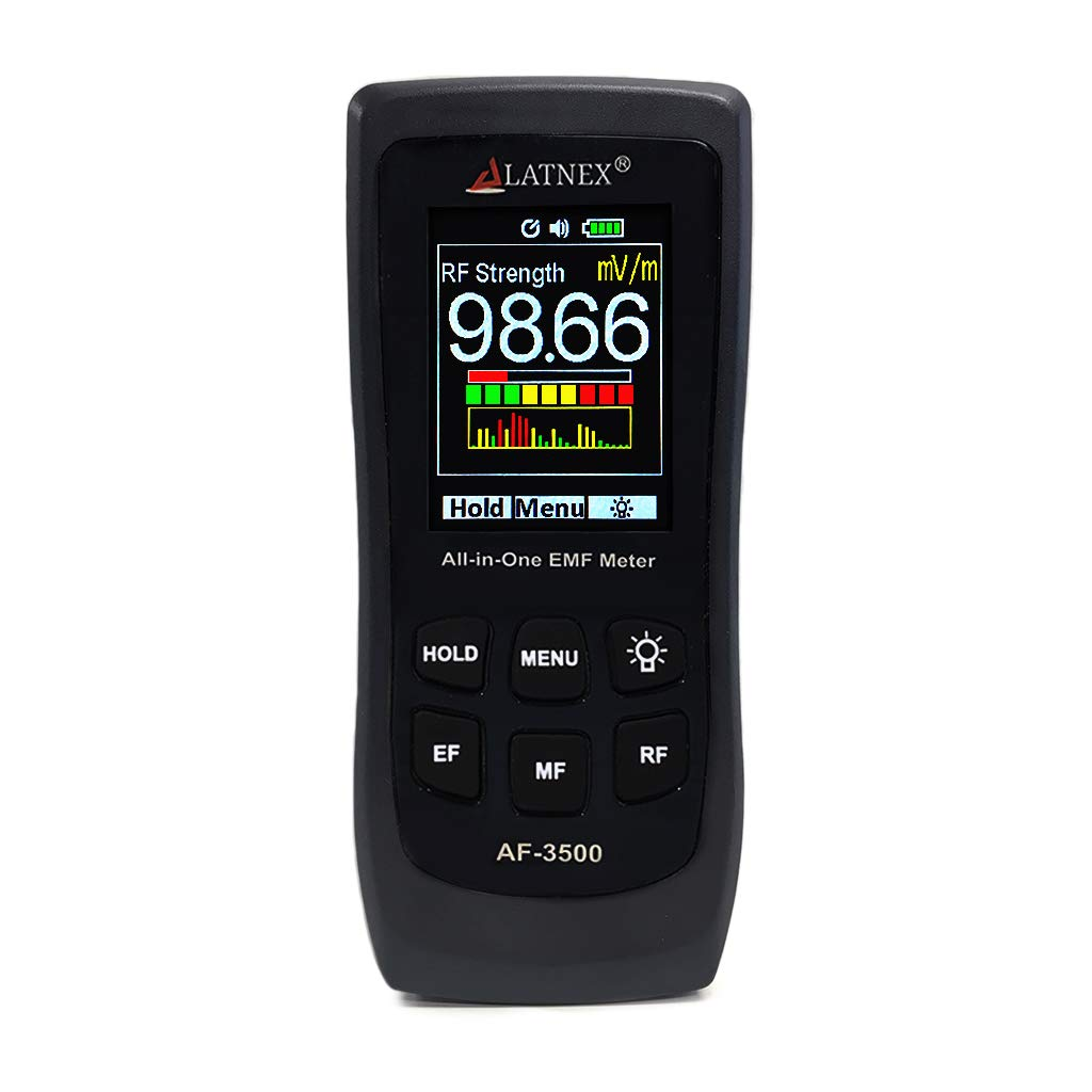 LATNEX AF-3500 EMF Meter RF Detector and Reader with Calibration Certificate and Tripod - Measures RF and Microwaves, 3-Axis Gauss or Tesla Magnetic Fields and V/M Electrical Fields ELF