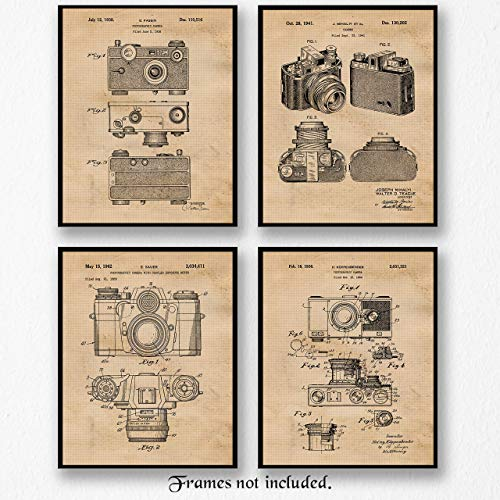 (Original Classic Camera Art Poster Prints - Set of 4 (Four Photos) 8x10 Unframed - Great Wall Art Decor Gifts Under $20 for Home, Office, Garage, Man Cave, Photo Lab, School, Teacher, Photography Fan)