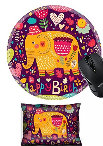 MSD Mouse Wrist Rest and Round Mousepad Set, 2pc Wrist Support design 26545830 Happy Birthday card with elephant