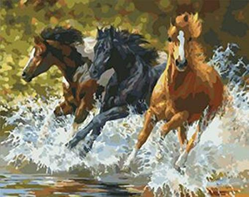 SONBY Paint by Numbers Kits for Adult Kids,Rushing Horses River Water Painting by Number for Home Wall Decor,16