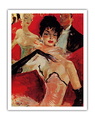 At La Scala or The Lodge of Hagel (A la Scala ou La loge d'Hagel) - From an Original Color Painting by Jean-Gabriel Domergue c.1940 - Fine Art Print - 11in x 14in