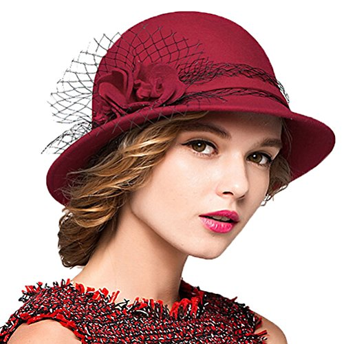 Maitose&Trade; Women's Wool Felt Bowler Hat Red by Maitose