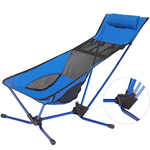 Lightweight Folding Angle-Adjustable Beach Camping Chair with Headrest, Compact for Backpacking Picnic Beach Festival Hiking -with Carry Bag-Max Load Bearing: 300LB,Blue