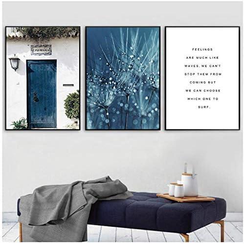 青い花ドア壁アートキャンバス絵画植物風景ポスタープリントノルディックポスター現代の壁の写真リビングルームの装飾50x70cmx3(フレームなし)