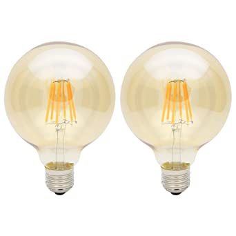 2X E27 Bombillas Edison 6W Bombilla Vintage G95 LED Retro Blanco Cálido 420LM Sustitución del Incandescente