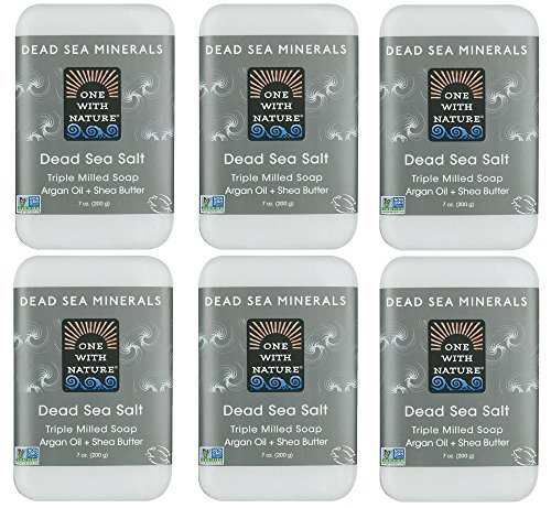 DEAD SEA Salt SOAP 6 PK - Shea Butter, Argan Oil, Magnesium, Sulfur, Minerals. All Skin Types, Problem Skin. Acne Treatment, Eczema, Psoriasis, Therapeutic, Natural, Fragrance Free, 7 oz Bars (Shea Butter Salt)