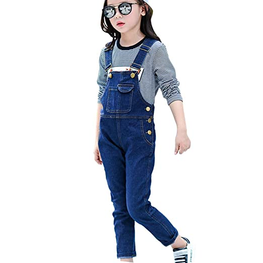 5437ca320e36d Amazon.com: LAVIQK Big Boys Kid Adjustable Strap Long Jeans Cotton  Suspender Soft Washed Denim Bib Overalls Blue 3-13 Years: Clothing