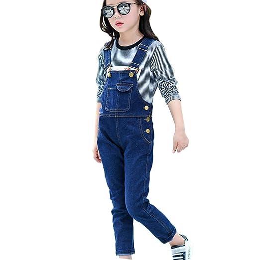 14428fb94fe Amazon.com  LAVIQK Big Boys Kid Adjustable Strap Long Jeans Cotton Suspender  Soft Washed Denim Bib Overalls Blue 3-13 Years  Clothing