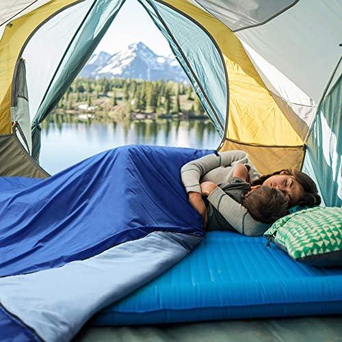 Glymnis Saco de Dormir Ultraligero con Capucha Saco de Dormir Rectangular con Almohada Inflable y Bolsa de Compresión Saco de Dormir Verano para Viaje Camping Senderismo 220x75 cm