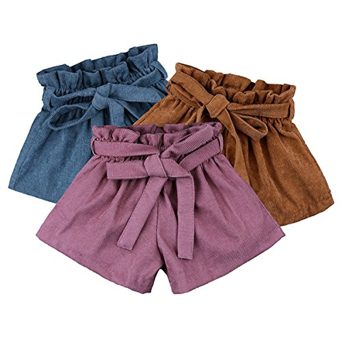 AYIYO Baby Infant Toddler Girls Bowknot Ruffle Bloomers Culottes Shorts with Belt (90(12-24Months), Pink+Brown+Blue(3pcs))
