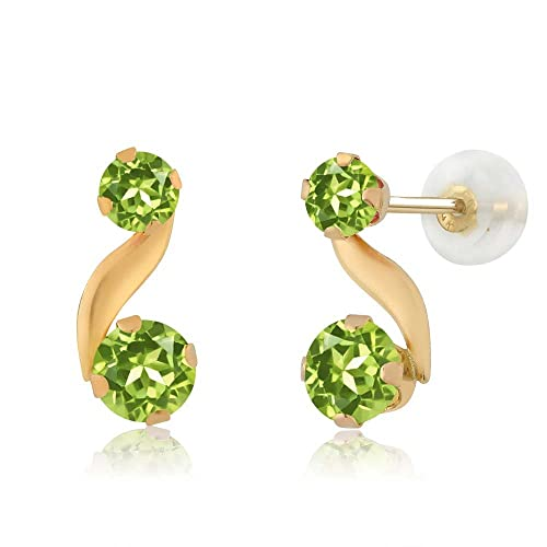 Gem Stone King 0.84 Ct Round Green Peridot 14K Yellow Gold Earrings