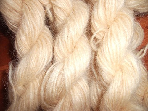 Handspun Sock Yarn - Pale Yellow 70% angora 30% merino wool fingering weight yarn