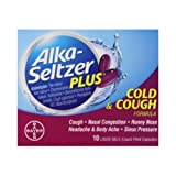 Alka Seltzer Plus Cold and Cough Liquid Gels - 10 per pack -- 24 packs per case.